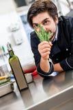 Chef-kok die de versheid van een bos van kruiden controleren Stock Foto's