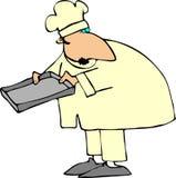 Chef-kok die een Blad van het Baksel houdt stock illustratie