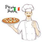 Chef-kok die een schotel met pizza houden en een o.k. teken geven stock illustratie