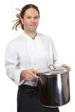 Chef-kok die grote pot houdt Stock Fotografie