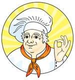 Chef-kok die het o.k. teken geeft. royalty-vrije illustratie