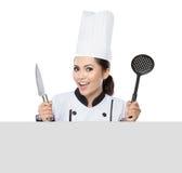 Chef-kok die leeg teken toont Royalty-vrije Stock Afbeelding