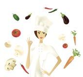 Chef-kok die O.k. Gebaar met Groenten tonen Stock Fotografie