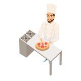 Chef-kok die pizza maakt Royalty-vrije Stock Afbeeldingen