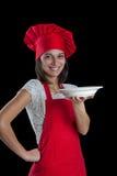 Chef-kok die plaat toont Royalty-vrije Stock Afbeelding