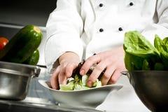 Chef-kok die salade voorbereiden Stock Foto's