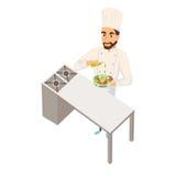 Chef-kok die salade maakt Stock Foto