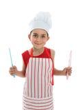 Chef-kok die twee messen houdt stock afbeelding