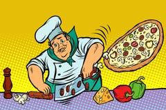 Chef-kok die voedsel in een commerciële keuken voorbereiden vector illustratie