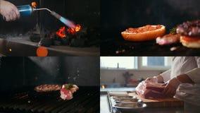 4 in 1: chef-kok die voedsel voor het braden voorbereiden BBQ stock footage