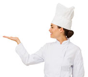 Chef-kok Displaying Invisible Product stock fotografie