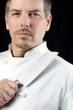 Chef-kok Displays Knife, Portret Royalty-vrije Stock Foto's