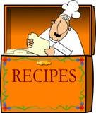 Chef-kok in een Doos van het Recept Stock Foto