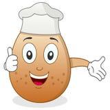 Chef-kok Egg Character met omhoog Duimen Stock Afbeeldingen