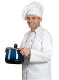 Chef-kok en braadpan stock afbeelding