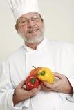 Chef-kok en capsicum Royalty-vrije Stock Foto