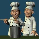 Chef-kok en keukenjongen Royalty-vrije Stock Foto