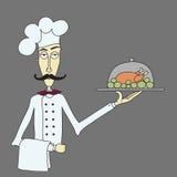 Chef-kok en kip Stock Afbeelding