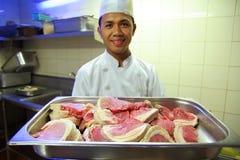 Chef-kok en lapjes vlees Royalty-vrije Stock Fotografie