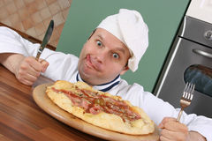 Chef-kok en pizza Royalty-vrije Stock Fotografie