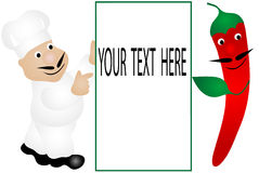 Chef-kok en Spaanse peper Stock Foto