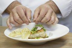 Chef-kok Garnishing Food royalty-vrije stock afbeelding