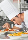 Chef-kok Garnishing Pasta Dishes stock afbeelding