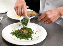 Chef-kok gemengd kruid en kruid Royalty-vrije Stock Foto's