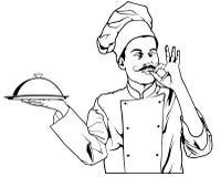 Chef-kok Gesture Delicious en Holding een Dienblad van de Glazen kapschotel Stock Foto's