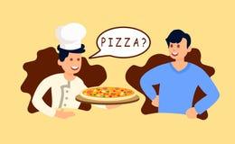 Chef-kok Giving Pizza aan Klanten Vectorillustratie vector illustratie
