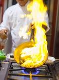 Chef-kok het koken Royalty-vrije Stock Afbeelding
