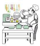 Chef-kok het koken in keuken Stock Afbeelding