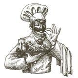 Chef-kok, het ontwerpmalplaatje van het kok vectorembleem Vers voedsel Royalty-vrije Stock Foto