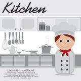 Chef-kok In Kitchen Royalty-vrije Stock Afbeeldingen