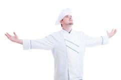 Chef-kok of kok met wapens brede open uitgestrekt en uitgespreid Stock Afbeeldingen