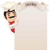 Chef-kok Looking bij Leeg Menu Royalty-vrije Stock Foto's