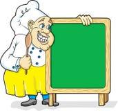 Chef-kok met Bord Stock Foto's