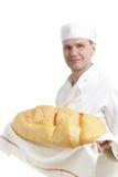 Chef-kok met brood Stock Fotografie