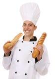 Chef-kok met Brood royalty-vrije stock afbeeldingen