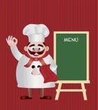 Chef-kok met de Illustratie van het Teken van het Menu Royalty-vrije Stock Foto