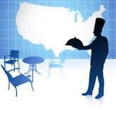 Chef-kok met de kaart van Verenigde Staten Stock Afbeelding
