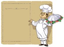 Chef-kok met de pagina van het Menu Royalty-vrije Stock Foto
