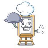 Chef-kok met de stijl van het de mascottebeeldverhaal van de voedselschildersezel vector illustratie