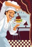 Chef-kok met dessert Royalty-vrije Stock Foto's