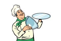 Chef-kok met dienblad met open deksel Isoleer op witte achtergrond vector illustratie