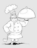 Chef-kok met een handtekeningsschotels. Tekening uit de vrije hand Stock Afbeelding
