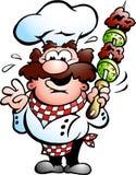 Chef-kok met een kebabvleespen Stock Afbeelding