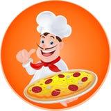 Chef-kok met een pizza Royalty-vrije Stock Afbeelding