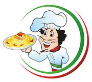 Chef-kok met een plaat van spaghetti Stock Foto's
