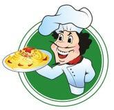 Chef-kok met een plaat van spaghetti Stock Afbeeldingen
